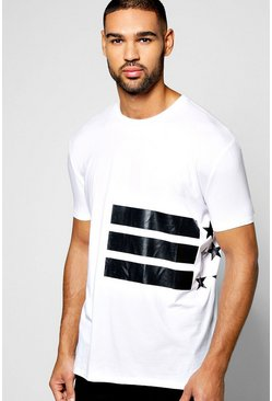Longline Mono Stars And Stripes Tee