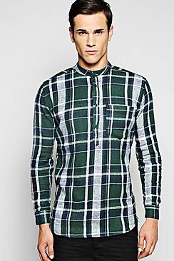 Overhead Grandad Shirt With Curved Hem