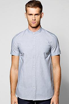 Short Sleeve Grandad Neck Shirt