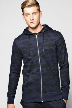 Camo Zip Through Hoodie