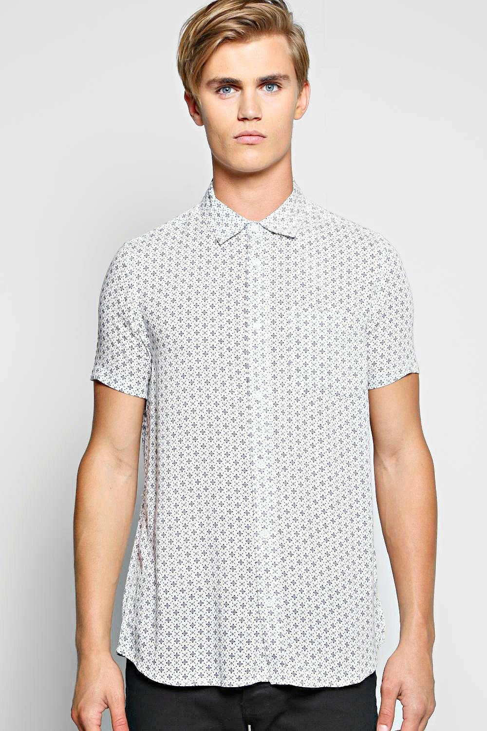 Short Sleeve Printed Viscose Regular Collar Shirt