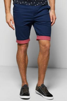 Contrast Check Turn Up Stretch Chino Short