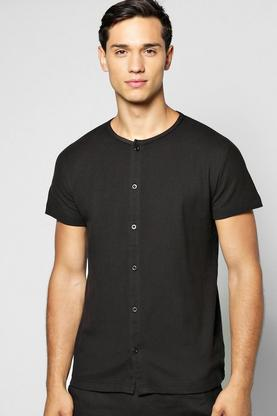 Pique Short Sleeve Button Through Grandad Shirt