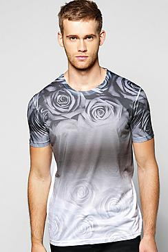 Faded Floral Sublimation Print T Shirt