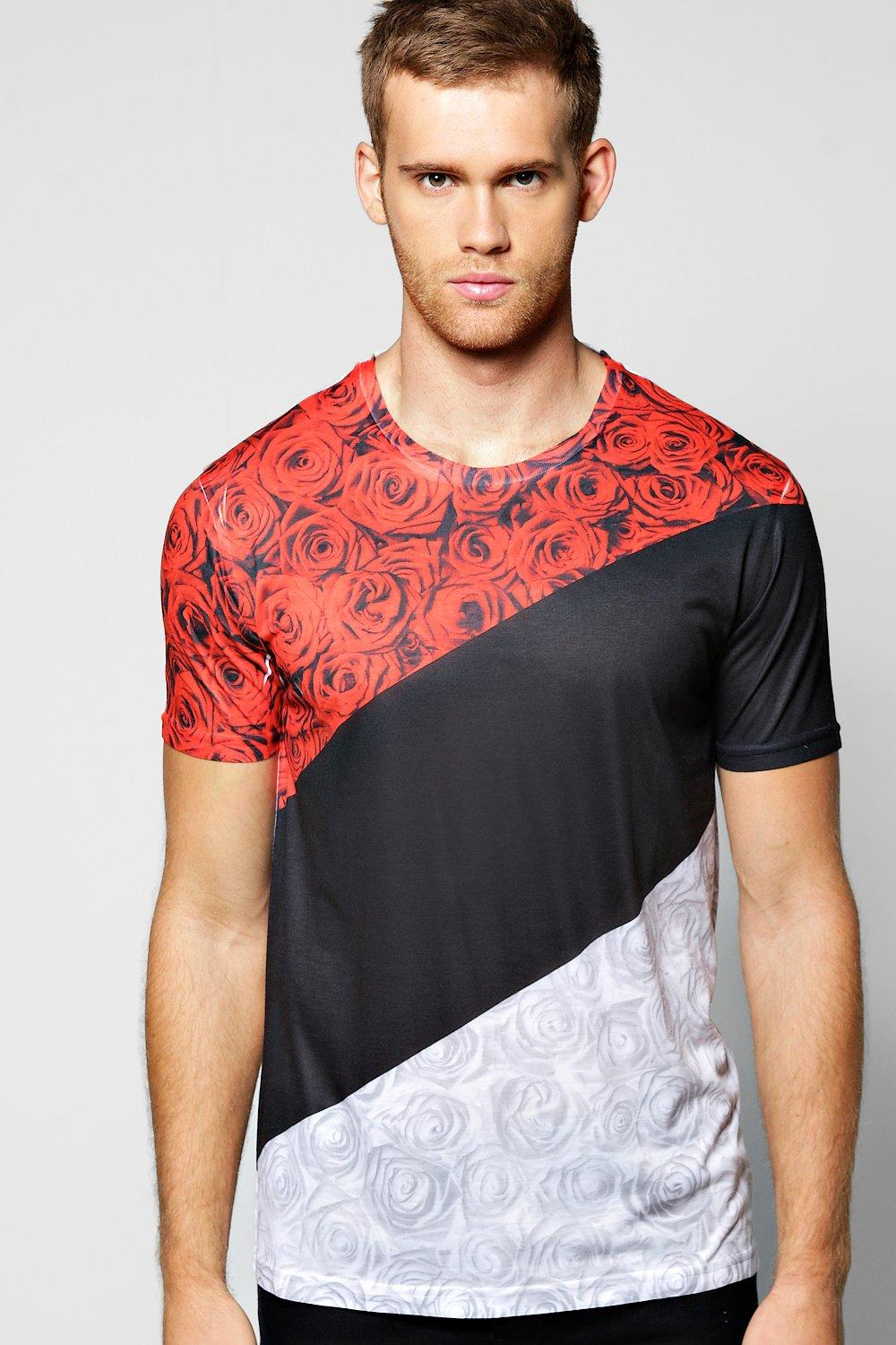 Longline Spliced Floral T Shirt