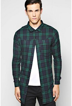 Western Style Longline Check Shirt