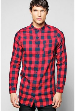 Longline Check Buffalo Shirt Grandad Collar