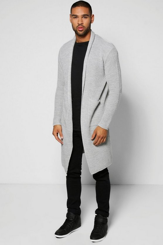 Longline Cardigan in Fisherman Knit