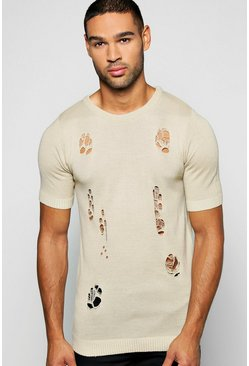 Muscle Fit Destroyed Short Sleeve Jumper