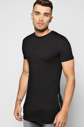 Skater Length Muscle Fit T Shirt With Side Zips