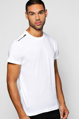 Crew Neck T Shirt With Shoulder Zip Detail