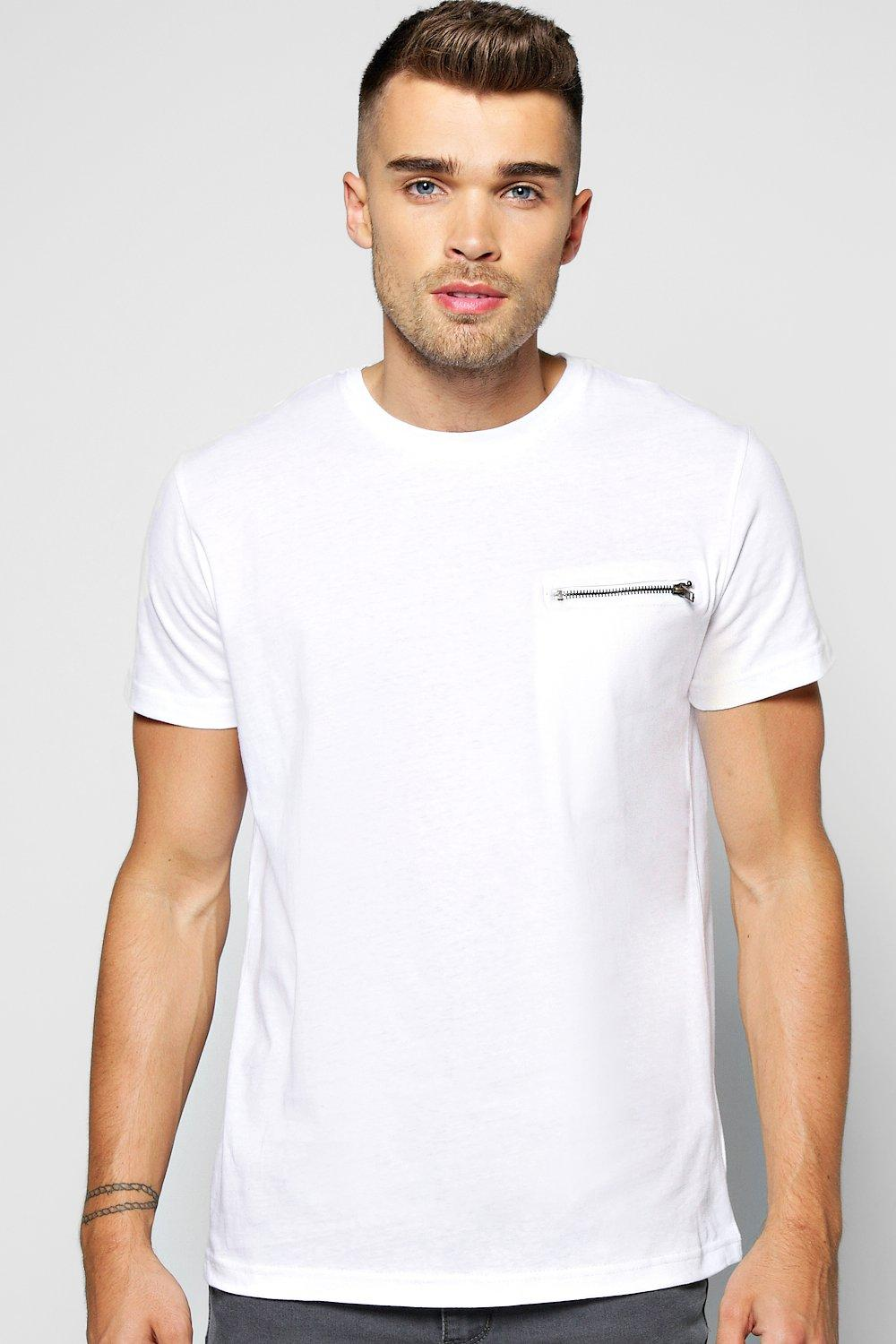 Crew Neck T Shirt With Zip Pocket