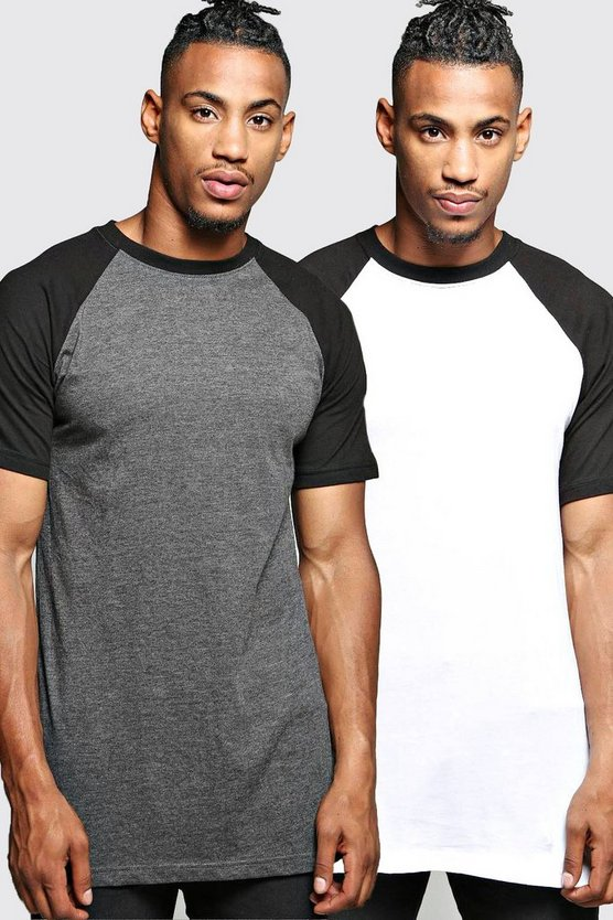 2 Pack Crew Neck Raglan T Shirts in Slim Fit