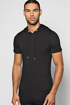 Muscle Fit Hooded T Shirt