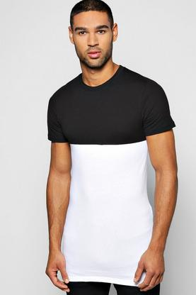 Skater Length Colour Block Muscle Fit T Shirt