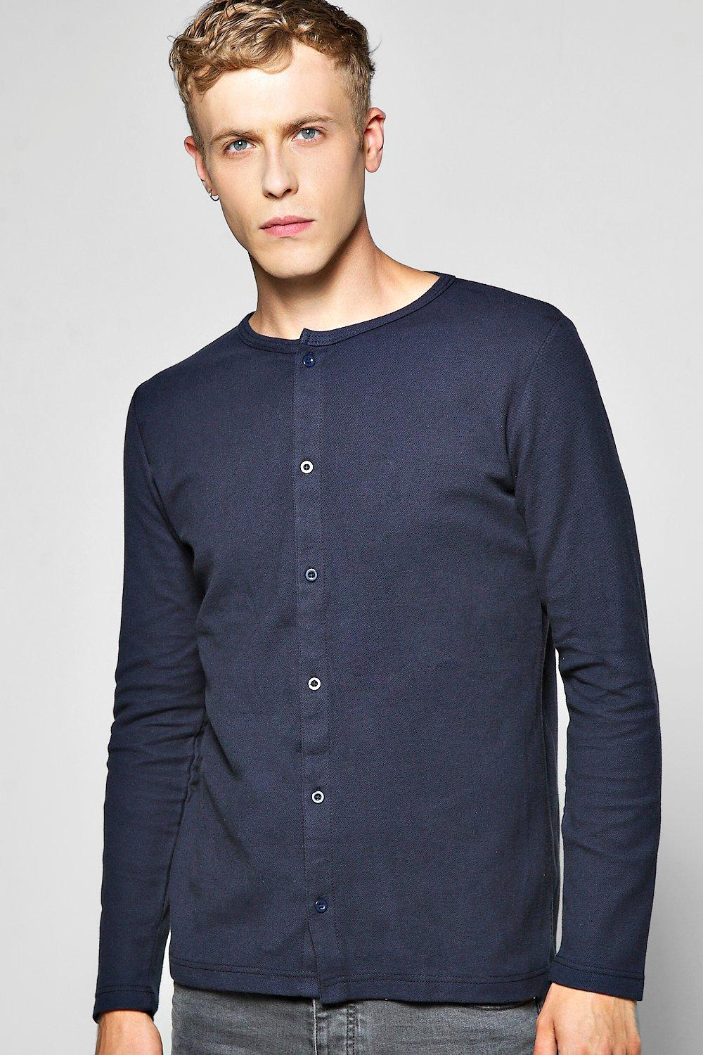 Grandad Neck Pique Button Through Shirt