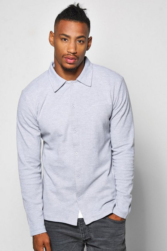 Long Sleeve Pique Button Through Shirt