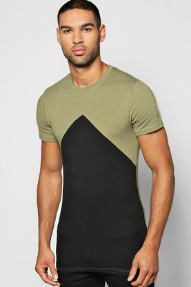 Muscle Fit Colour Block T Shirt