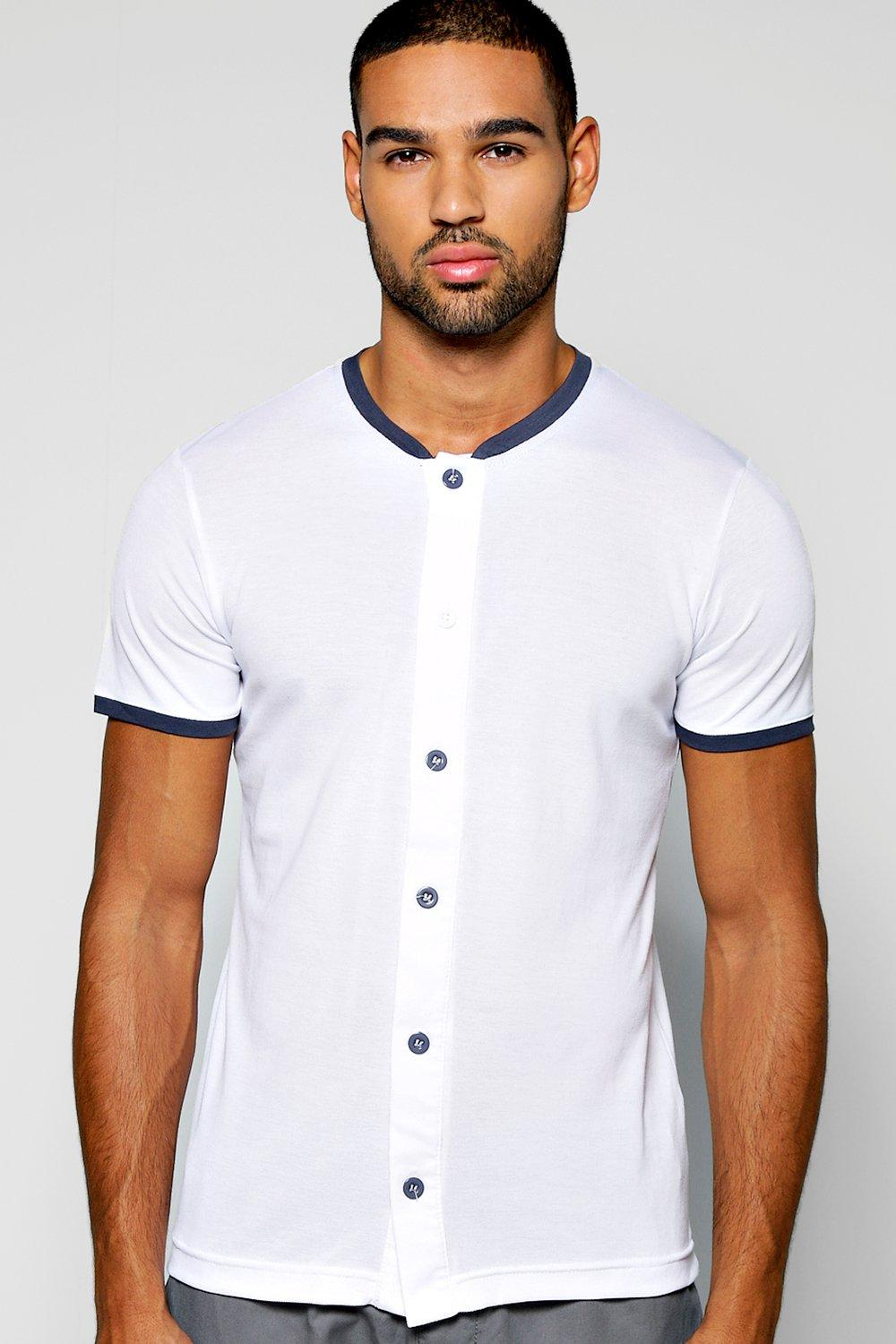 Grandad Collar Pique Button Through T Shirt