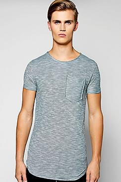 Slub Raw Edge T Shirt With Pocket