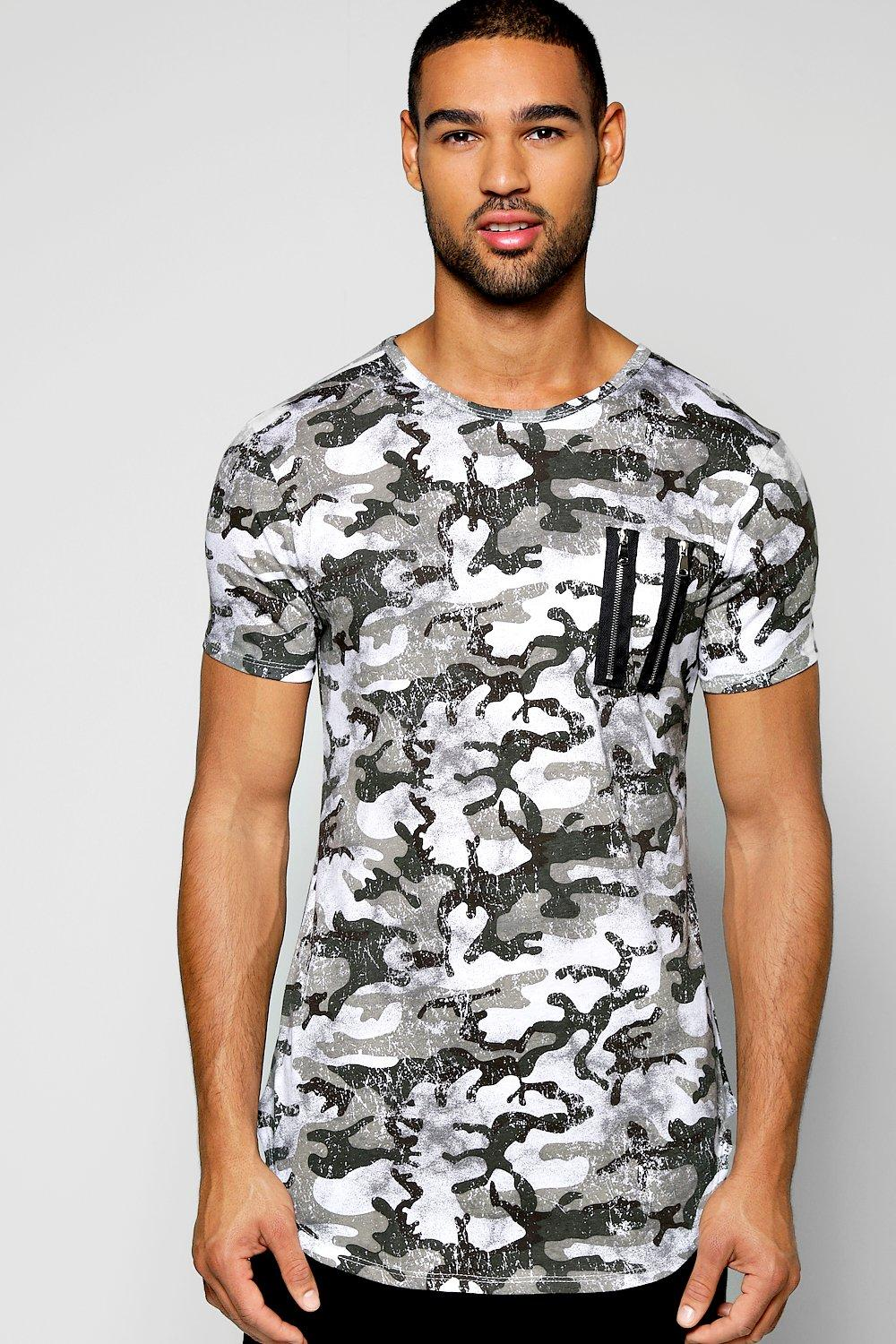 Muscle Fit Camo Zip T Shirt With Scooped Hem