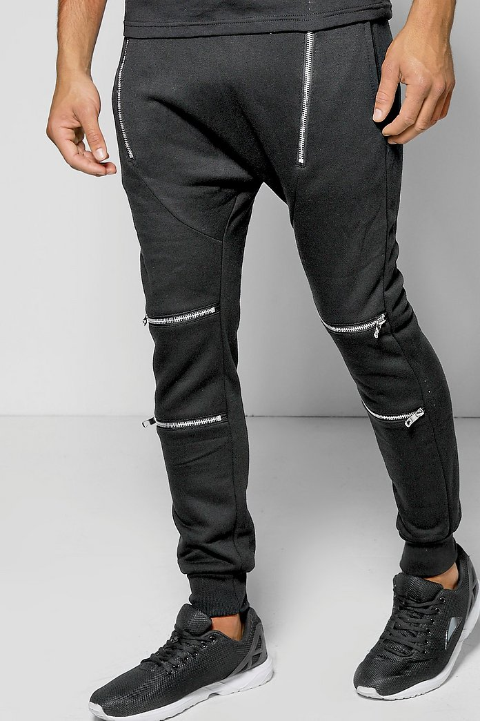 Skinny Fit Drop Crotch Biker Jogger