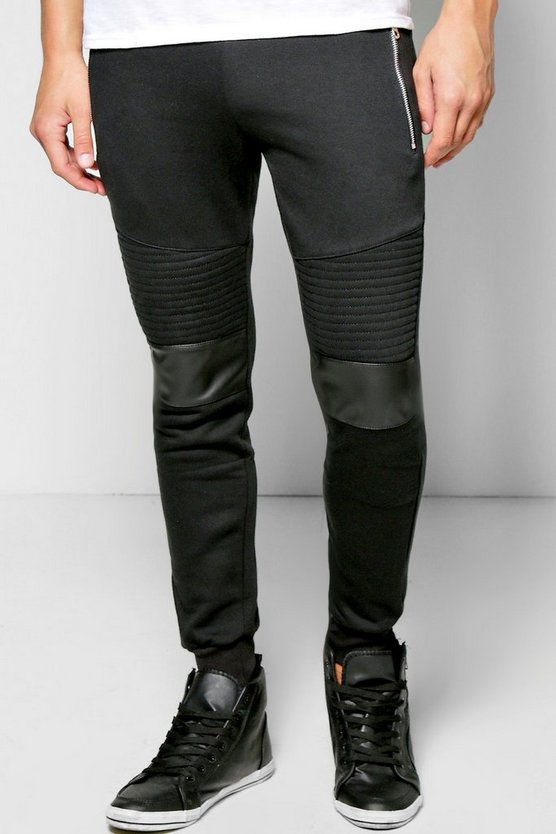 Skinny Fit Biker Joggers With PU Detail