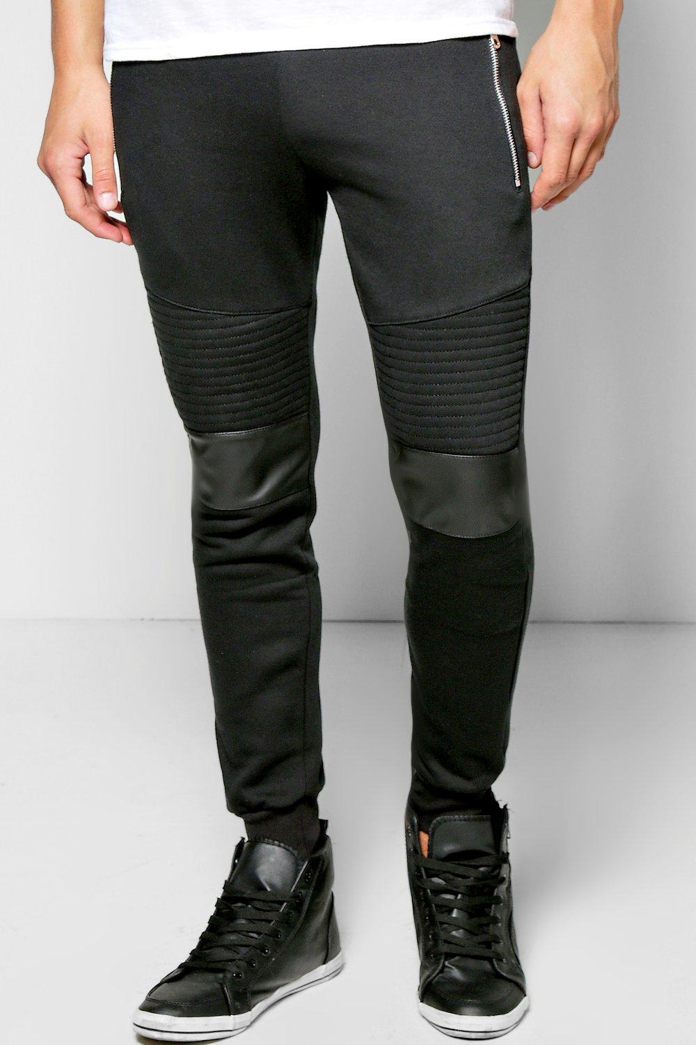 Skinny Fit Biker Jogger With PU Detail