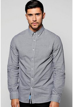 Long Sleeve Houndstooth Shirt