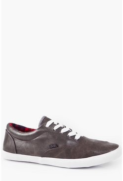 PU Lace Up Plimsolls