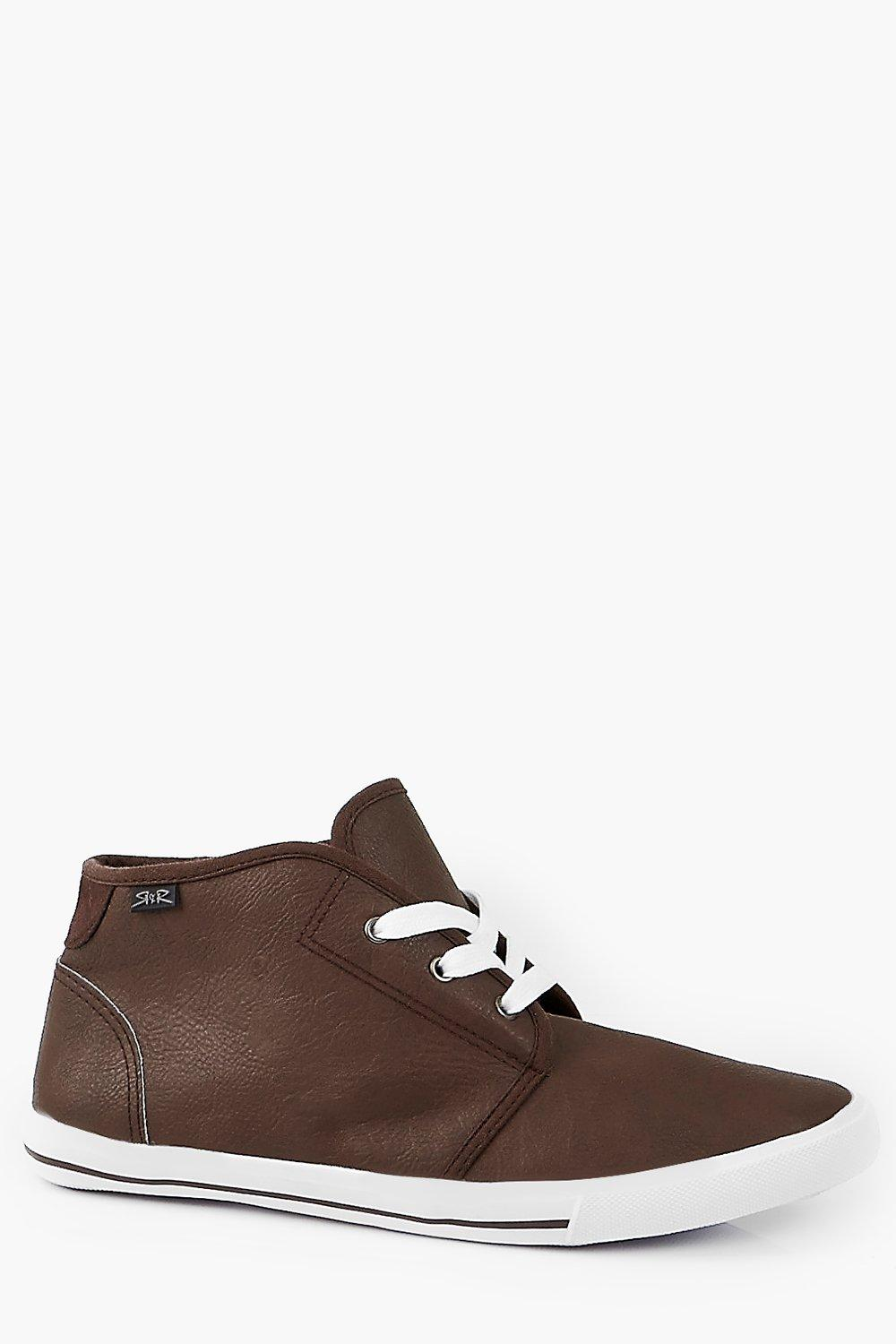 Leather Look Chukka Boot With Suede Trim