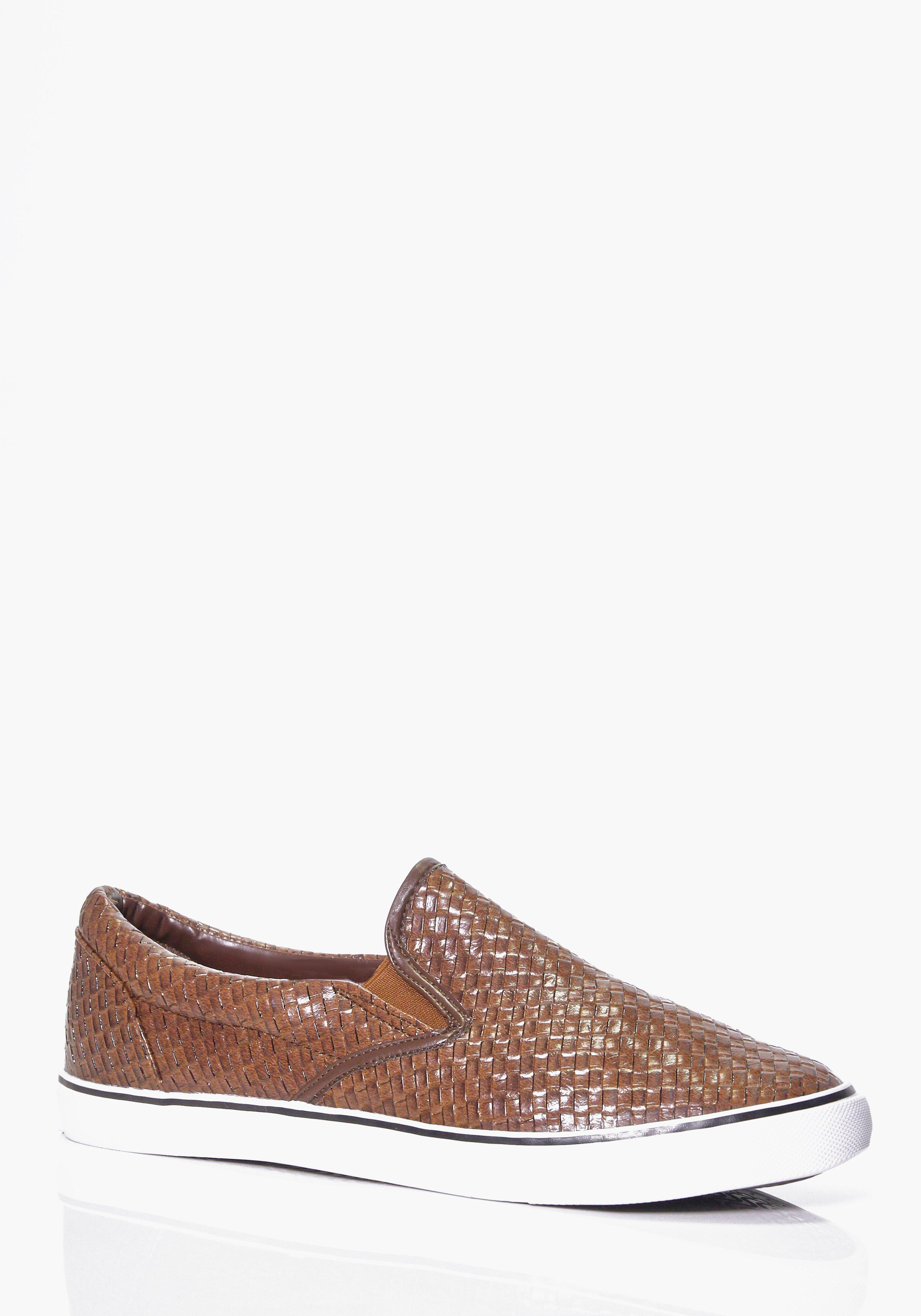 Woven Plimsolls With Chambray Inner brown