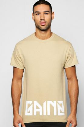 Gainz Slogan Print T Shirt