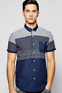 Short Sleeve Panel Print Shirt