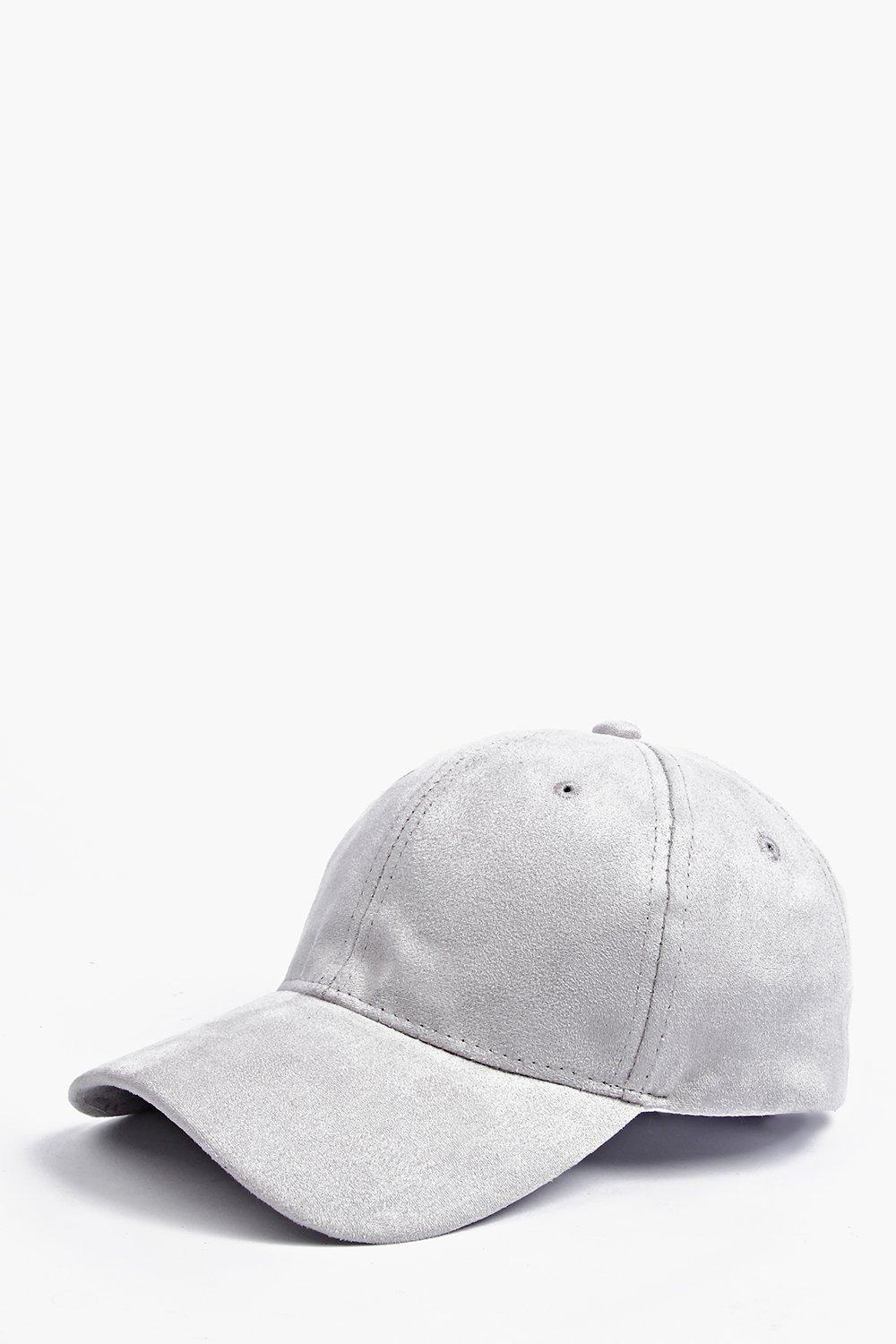 Grey Faux Suede Baseball Cap
