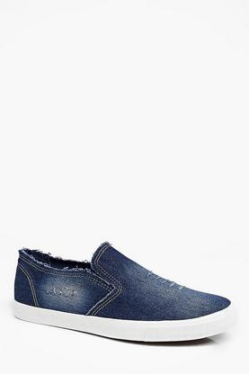 Distressed Washed Navy Slip On Plimsolls