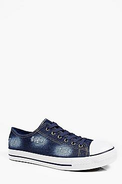 Distressed Washed Navy Lace Up Plimsolls