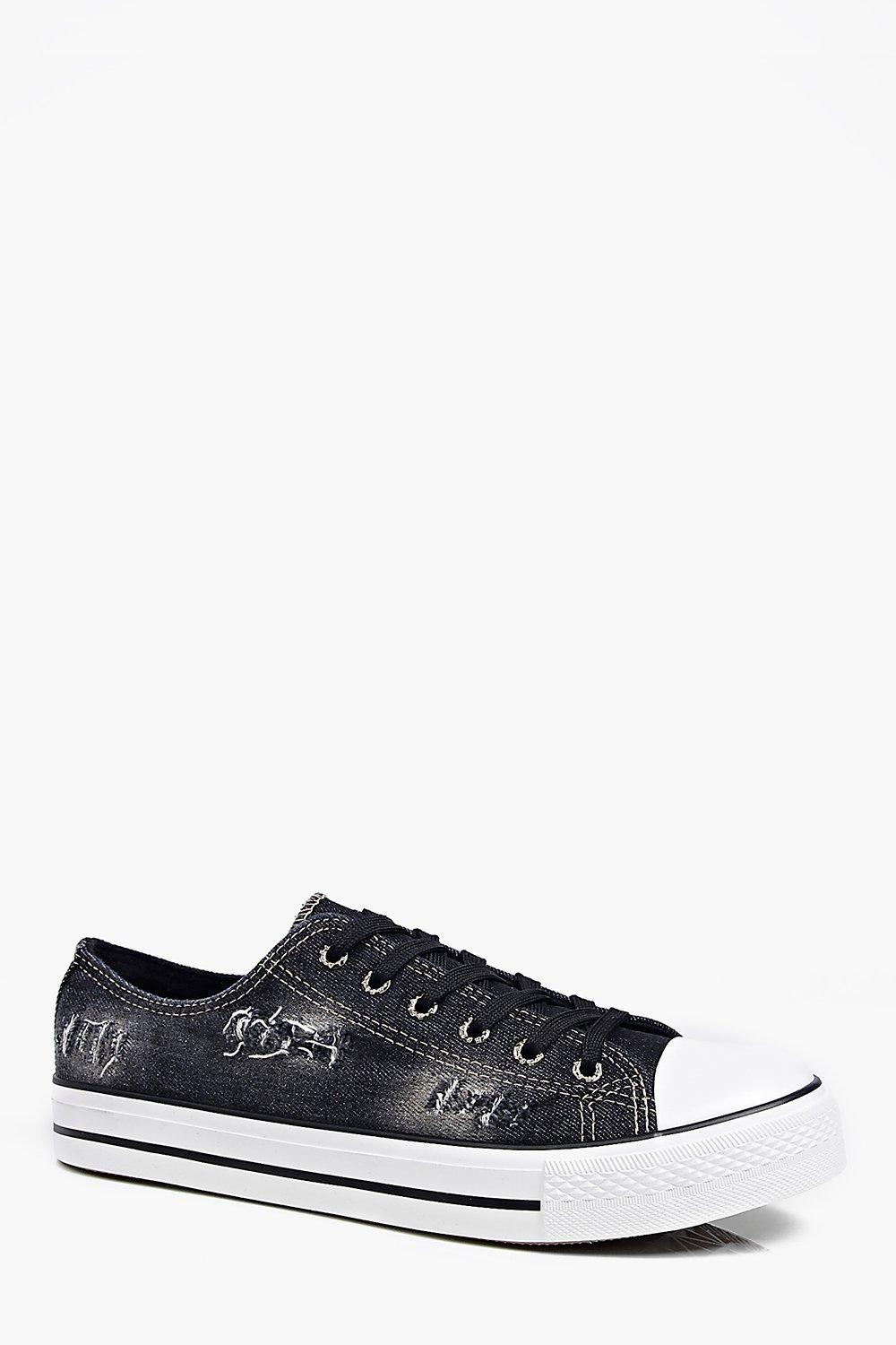 Distressed Washed Black Lace Up Plimsolls