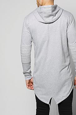 Longline Biker Hoodie With Fishtail Hem