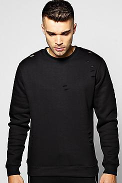 Crew Neck Sweatshirt With Slashes