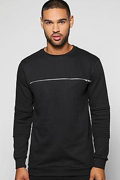 Crew Neck Biker Sweater