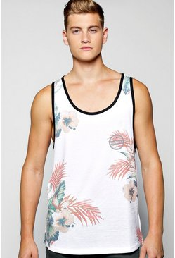 Floral Longline Printed Vest With Scoop Hem