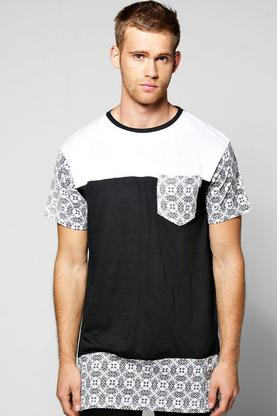 Super Longline Print T Shirt With Side Zips