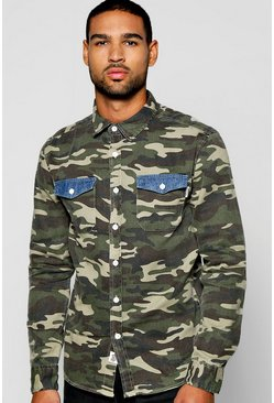 Long Sleeve Camo Shirt With Denim Pockets