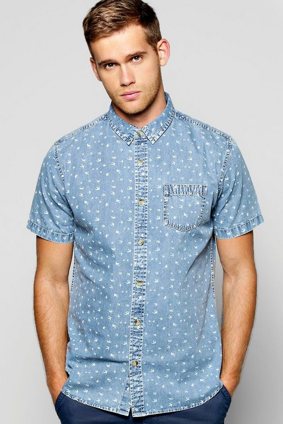 All Over Swallow Print Denim Shirt