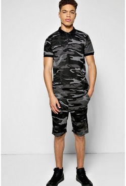 Camo Polo T Shirt Set