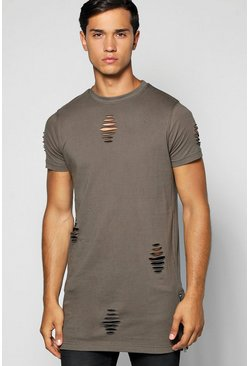 Longline Destroyed T Shirt With Zips