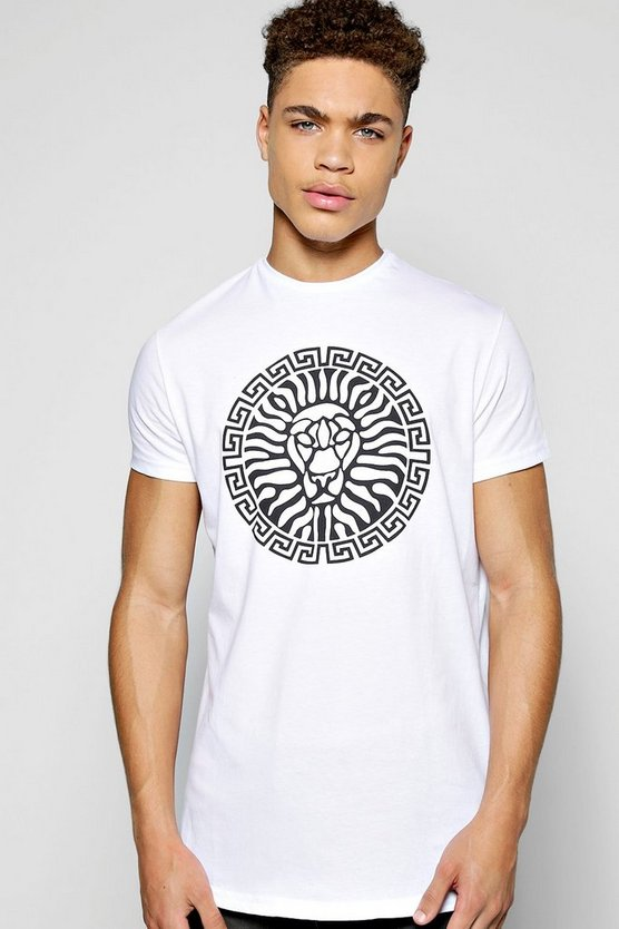 Lion Print T Shirt With Scoop Hem