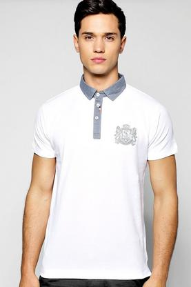 Chambray Collar Embroidered Polo