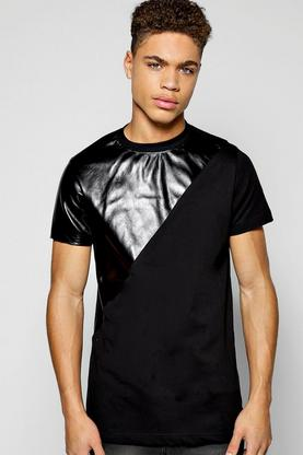PU Spliced T Shirt With Side Zips